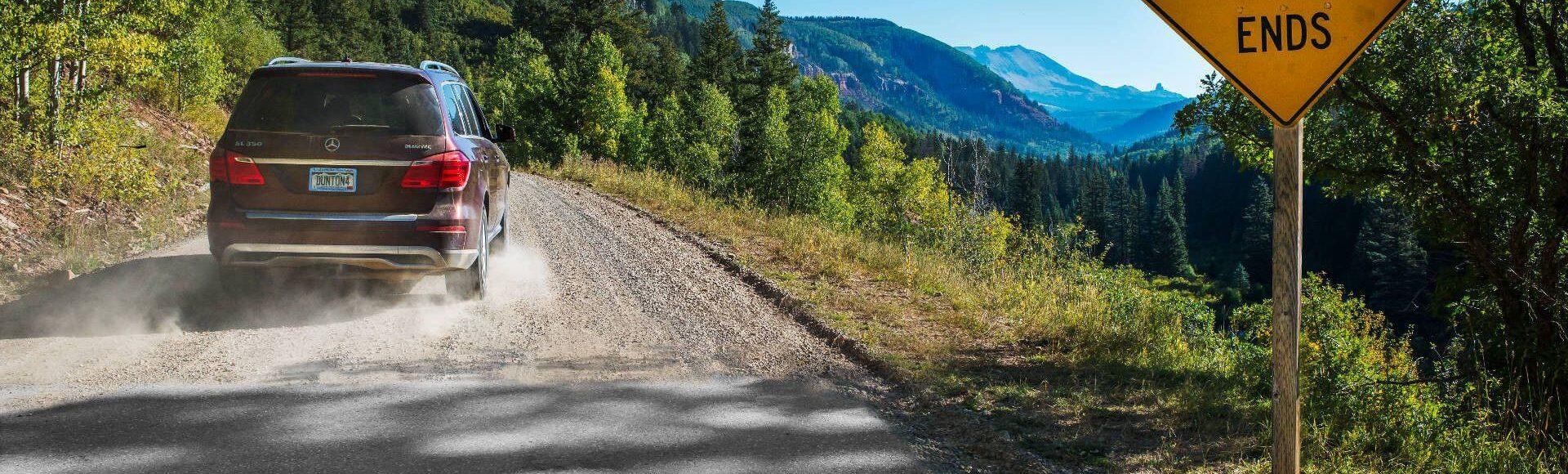 Car driving along Colorado roads