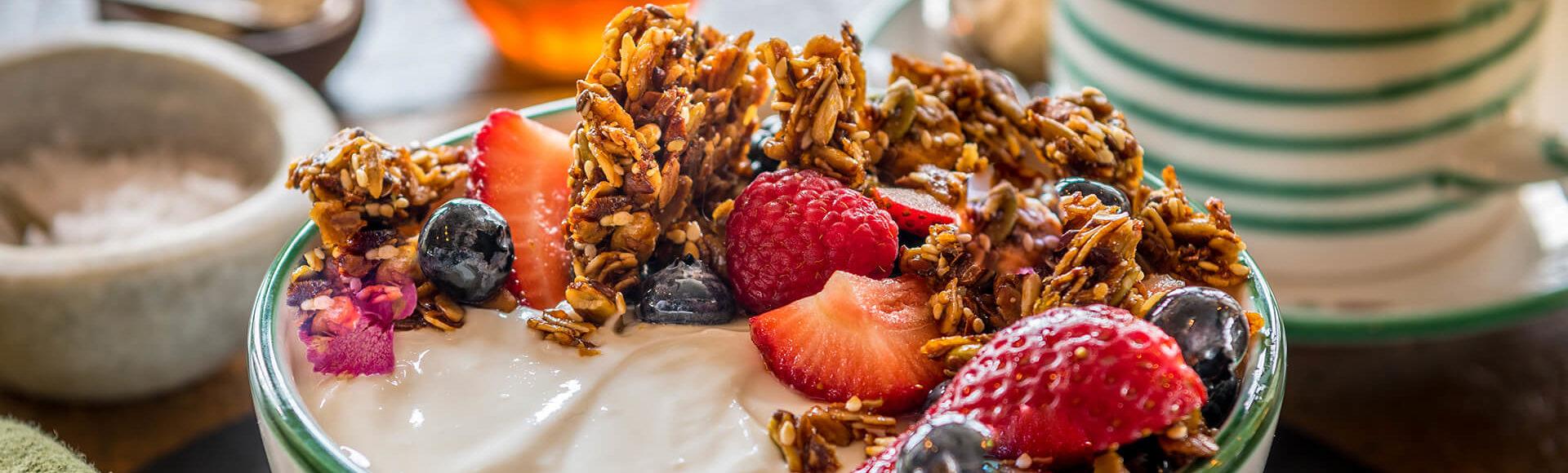 Fresh yogurt and granola served at breakfast