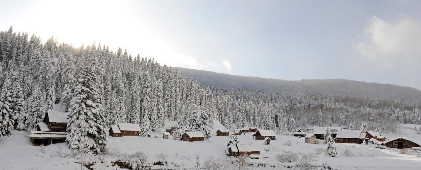 Dunton Hot Springs town after snowfall