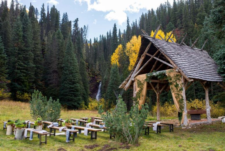 Wedding chapel in fall
